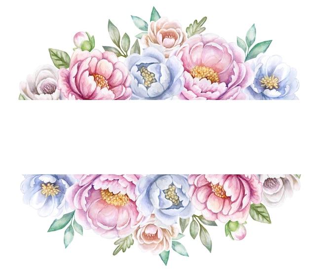 Cornice di fiori di peonie