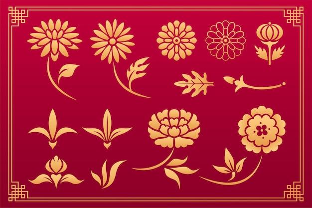Fiore di peonia ornamento asiatico fiore di crisantemo ornamento asiatico vettore cinese e giapponese