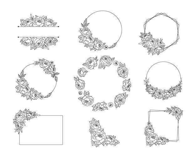 Cornice di fiori di peonia e fascio di bordi ghirlanda di linea floreale con cornice di monogramma botanico di peonie