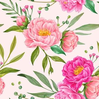Modello senza cuciture disegnato a mano di fiore di peonia