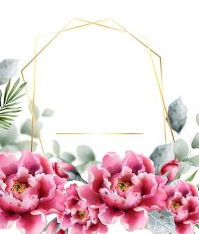 Cornice acquerello fiori di peonia. delicato decoro floreale.