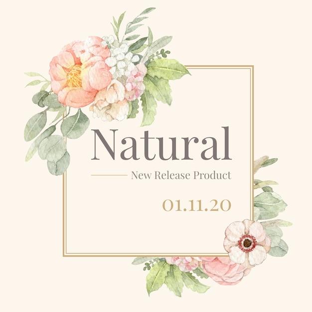 Cornice e bordo dell'acquerello di peonia e papavero per il marchio, l'identità aziendale, l'imballaggio e il prodotto. Vettore Premium