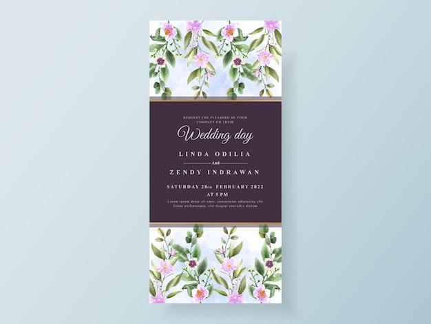 Biglietto d'invito matrimonio peonia e rose