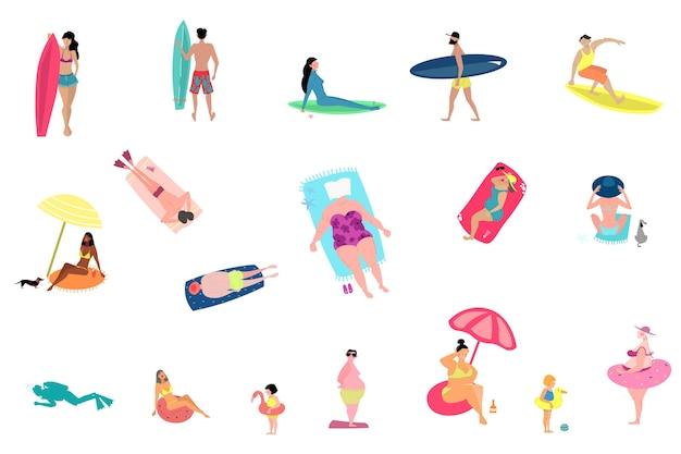 Attività di persone in spiaggia estiva insieme isolato su priorità bassa bianca