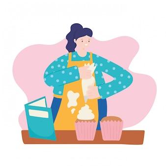 Attività della gente, donna che cucina il fumetto del libro di ricetta dei bigné dolci