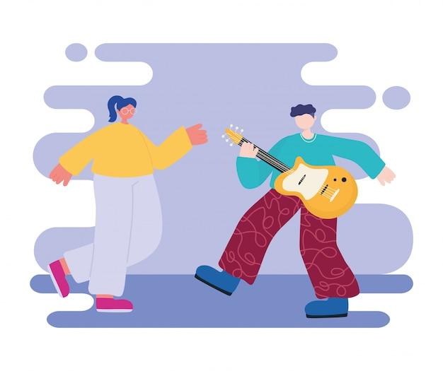 Attività di persone, giovane uomo che suona strumenti musicali per chitarra e donna che balla personaggi