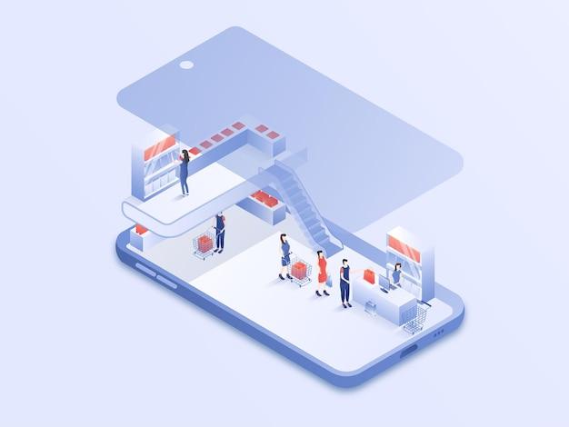 Attività di persone di shopping online su smartphone moderno design 3d isometrica illustrazione vettoriale