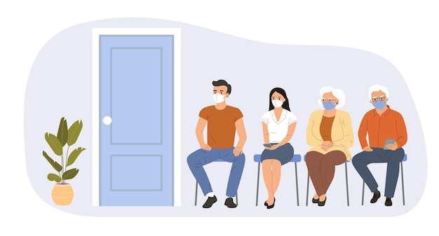 Persone di tutte le età sono sedute in fila in attesa della vaccinazione contro il covid-19. illustrazione vettoriale.