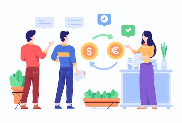 La gente analizza l'illustrazione piana di progettazione di stile di concetto di tasso di cambio di valuta