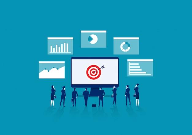 Le persone analizzano grafici finanziari, analisi del grafico del reddito e impiegati