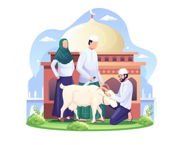 Le persone stanno sacrificando capre o qurban sull'illustrazione di eid al adha mubarak