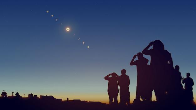 La gente sta osservando un'eclissi solare nel cielo con le stelle. illustrazione realistica.
