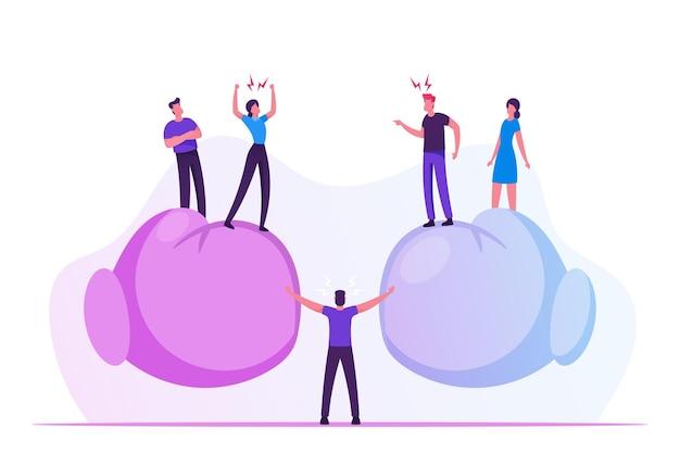 Persone che litigano e si urlano a vicenda in piedi su enormi guantoni da boxe. cartoon illustrazione piatta