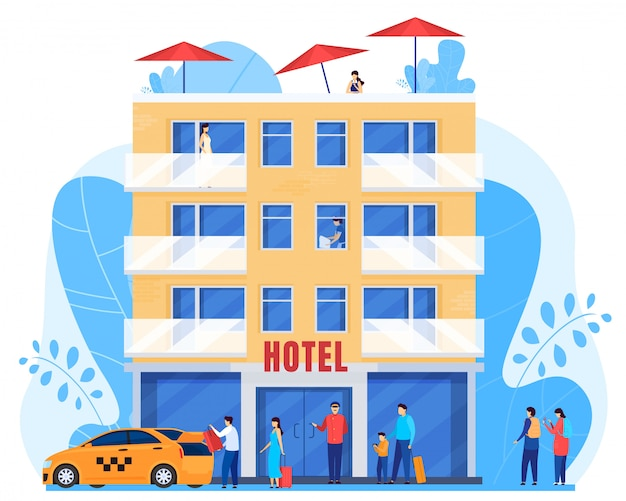 La gente arriva in hotel, uomini e donne con i bagagli, illustrazione