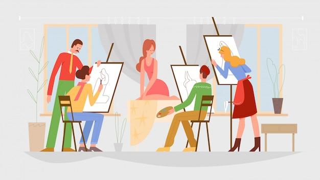 Classe di persone arte, illustrazione lezione di disegno