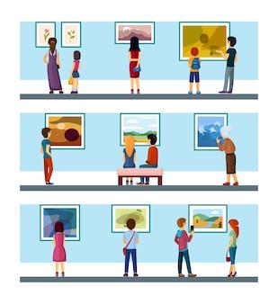 Persone in galleria d'arte in cerca di dipinti impostati. la mostra dei personaggi ammira le collezioni di pittura classica e contemporanea di artisti e pittori di paesaggi in disegni moderni. esposizione del fumetto di vettore.