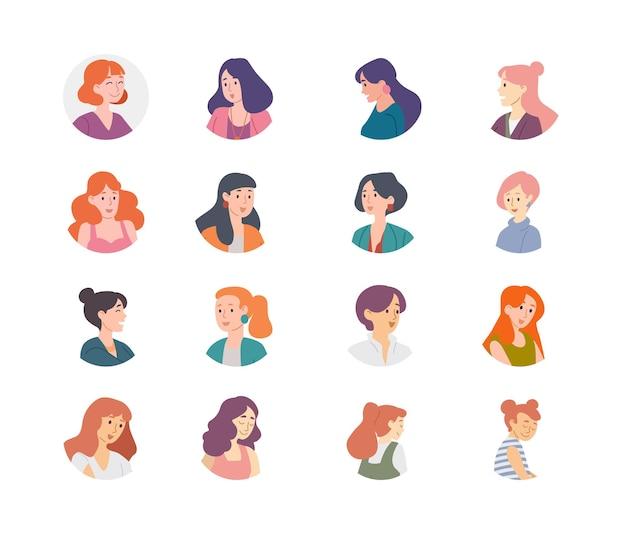 Collezione di avatar di persone. caratteri di donne ragazze femmine