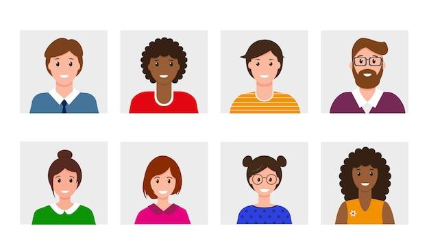 Set di avatar di persone. collezione di uomini e donne sorridenti.
