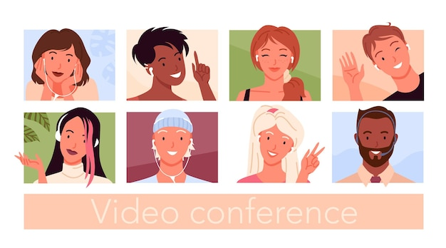 Avatar di persone per videoconferenza e set di illustrazioni per chat sui social media.