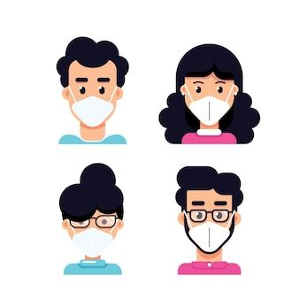 Avatar di persone che indossa la maschera per il viso, set di stile piatto