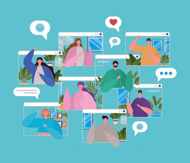 Avatar di persone su frame di siti web nel design di video chat