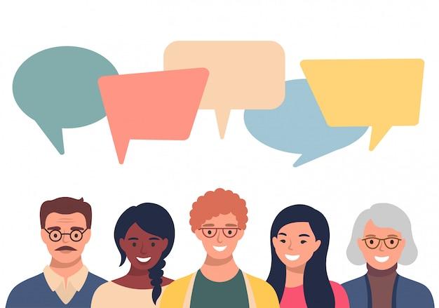 Avatar di persone con bolle di discorso. comunicazione di uomini e donne, parlando llustration. colleghe, squadra, pensiero, domanda, idea, concetto di brainstorming.