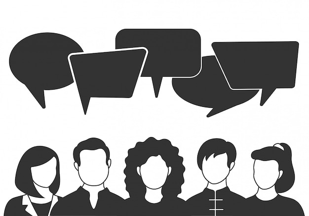 Avatar di persone con bolle di discorso. comunicazione della donna e degli uomini, llustration parlante. colleghe, squadra, pensiero, domanda, idea, concetto di brainstorming.