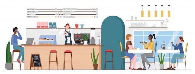 Persone nell'illustrazione del bar caffetteria. personaggi dei cartoni animati piatto uomo donna amico che si incontrano nella caffetteria per tazza di caffè o dessert e parlando, barista che fa bevanda calda al bancone bar interno sfondo