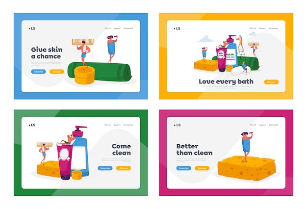 Persone in bagno landing page template set