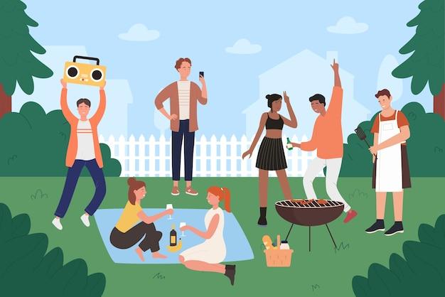 La gente sull'illustrazione di vettore del partito del barbecue, gli amici giovani hipster piani del fumetto si divertono sul barbecue che griglia il picnic all'aperto, cucinando sulla griglia, mangiando cibo alla griglia