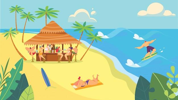 La gente al bar della spiaggia, vacanze estive in riva al mare, illustrazione