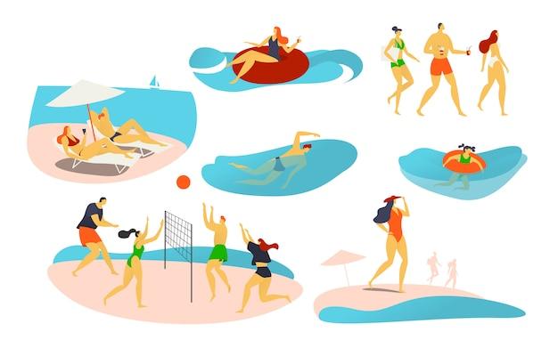 Persone sulla spiaggia, illustrazione, personaggi giocano a pallavolo, nuotano sull'anello di gomma, prendono il sole e trascorrono le vacanze estive sul litorale.