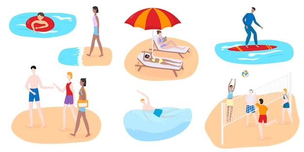 Persone sulla spiaggia, illustrazione, personaggi giocano a pallavolo, nuotano, fanno surf, prendono il sole e trascorrono le vacanze estive in riva al mare.