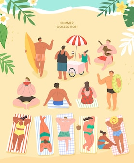 Persone sulla spiaggia set estivo