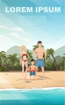 La gente sul paesaggio tropicale della spiaggia della bella spiaggia della riva del mare della costa con le palme e le piante il disegno dell'insegna verticale dell'illustrazione piana di vettore di buona giornata di sole.