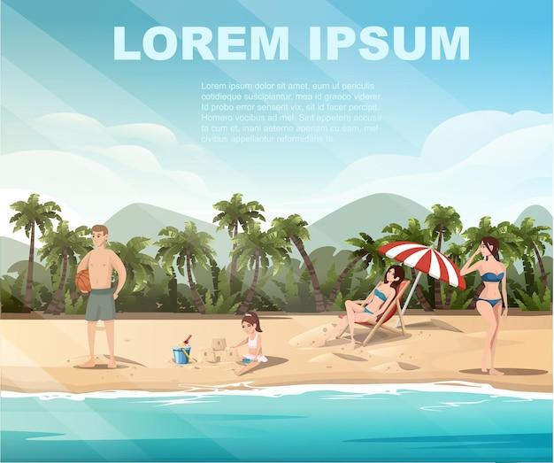 La gente sul paesaggio tropicale della spiaggia della bella spiaggia della riva del mare della costa con le palme e le piante sull'illustrazione piana di vettore della buona giornata di sole.