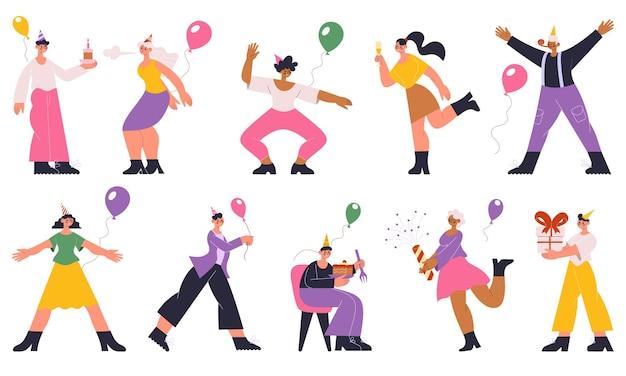 Festa della festa di compleanno della gente che celebra, balla, si diverte. personaggi festivi con regali, palloncini, champagne, set di illustrazioni vettoriali per torte. celebrazione della festa di compleanno