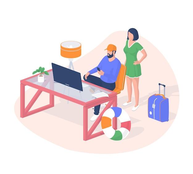 Persone che prenotano biglietti per il concetto isometrico di vacanza. i personaggi maschili e femminili scelgono i tropici di volo desiderati sul sito web. cose raccolte in borsa da viaggio rossa