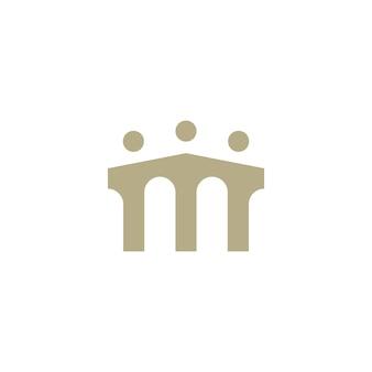 Persone ponte gruppo tre 3 comunità connessione familiare lavoro di squadra costruzione logo icona vettore illustrazione