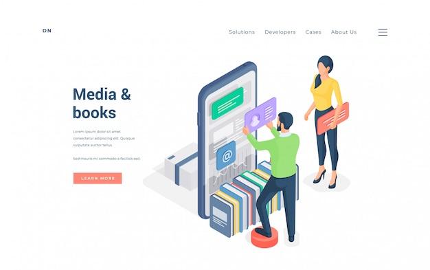 Persone che sfogliano media e libri su smartphone. uomo e donna isometrici che utilizzano l'app per smartphone moderna con media e libri sul banner del sito web