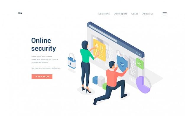 Persone che navigano insieme nel sito web protetto. illustrazione