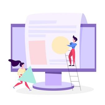 Le persone costruiscono un sito web. processo di sviluppo della pagina web