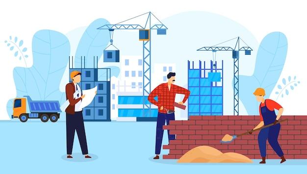 La gente nell'illustrazione piana di vettore di tecnologia di costruzione di edifici. caratteri del costruttore dell'operaio del fumetto che lavorano con strumenti professionali, architetto che tiene la costruzione