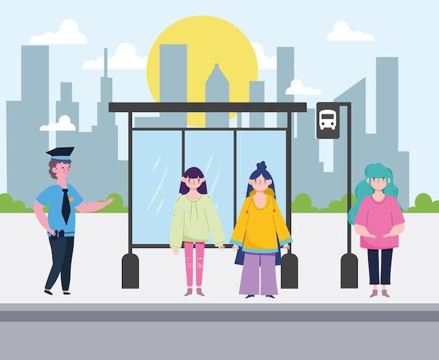 Fermata dell'autobus di persone