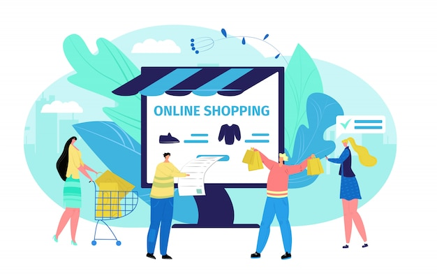 La gente al concetto online del deposito del computer aziendale, illustrazione. cliente su scala internet, donna uomo comprare vestiti. tecnologia per lo shopping commerciale, pagamento cartoon.