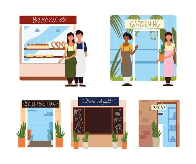 Illustrazione di negozi di ristorante, scuola materna e facciata di affari di persone