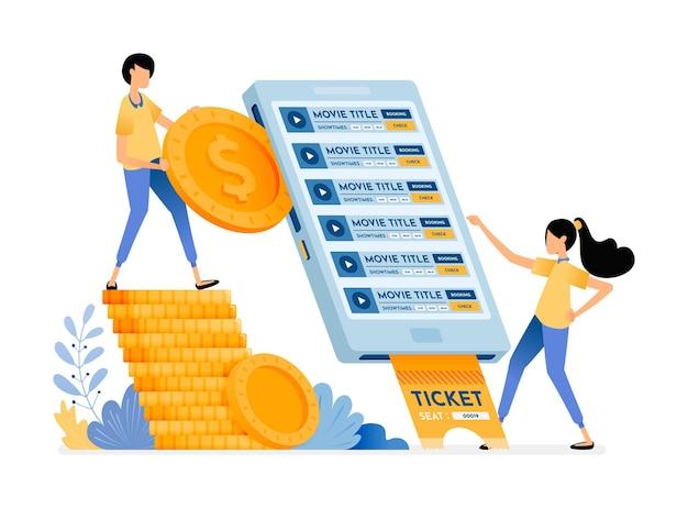 Le persone acquistano facilmente i biglietti del cinema utilizzando l'applicazione di acquisto mobile