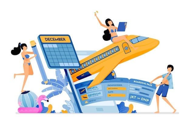 Le persone acquistano biglietti aerei per bali con le app