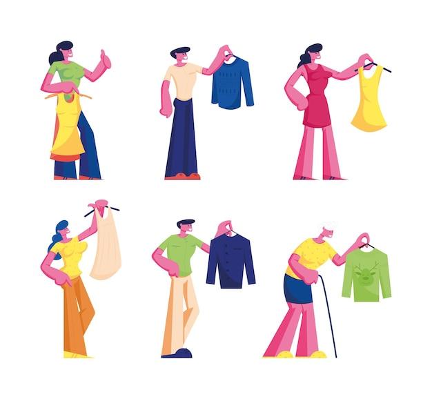 Persone che acquistano un set di vestiti.