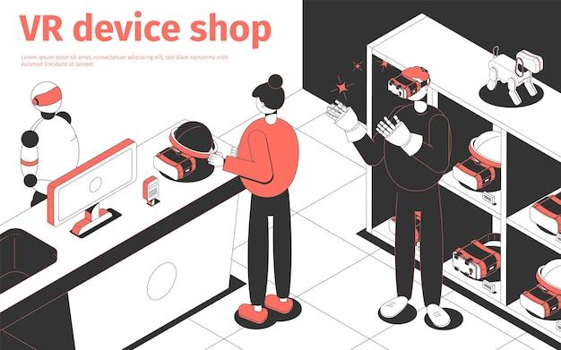 Persone che acquistano dispositivi vr nel negozio futuristico isometrico